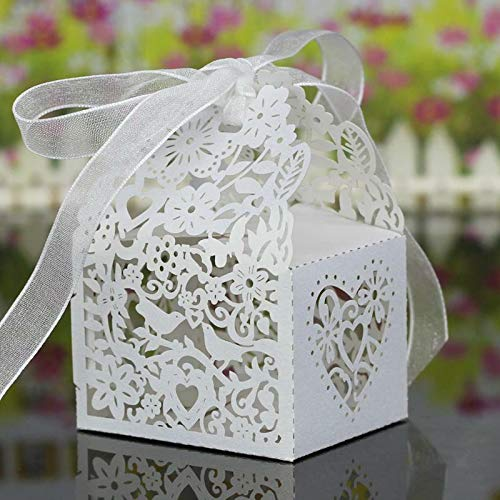 20Pcs Hollow Out Chocolate Candy Gift Boxes Wedding Party Favor Box With Ribbon |Color - Bird Heart Pattern White|