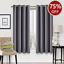 EASELAND Blackout Curtains 2 Panels Set Room Darkening Drapes Thermal Insulated Solid Grommets Window Treatment Pair for Bedroom, Nursery, Living Room,W52xL63 inch,Dark Grey