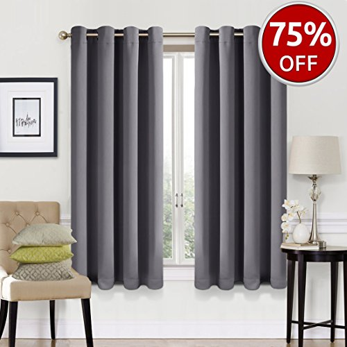 EASELAND Blackout Curtains 2 Panels Set Room Darkening Drapes Thermal Insulated Solid Grommets Window Treatment Pair for Bedroom, Nursery, Living Room,W52xL63 inch,Dark Grey (Curtain Window Sets Kitchen)