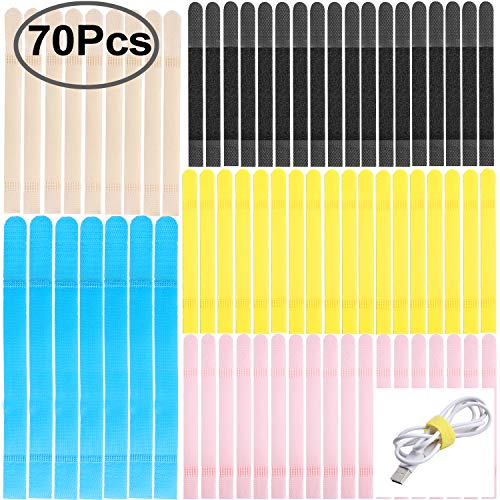 Straps for Cable, Outee 70 Pcs Reusable Ties for Cable Fastening Wire Organizer Cord Rope Holder for Cable Organizing, Assorted Colors