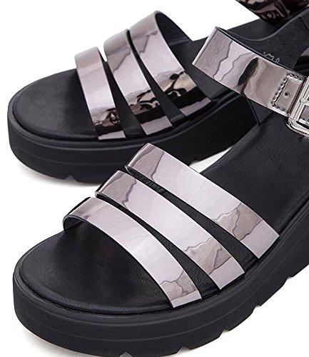 Tacchi Sandali Sandali Pantofole a piatti DHG da basso 36 con donna tacco estivi alti tacco basso alla casual Sandali Argento moda qFfq1w