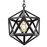 Kira Home Trenton 16'' Industrial Wrought Iron Metal Chandelier, Adjustable Chain, Black Finish