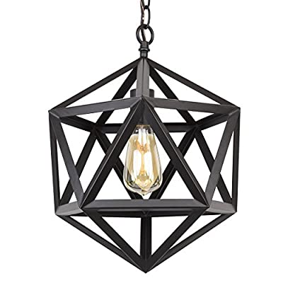 "Kira Home Trenton 12.5"" Modern Industrial Wrought Iron Metal Geometric Pendant Chandelier, Adjustable Chain, Black Finish - INDUSTRIAL STYLE: Metal chandelier features a geometric shade surrounding the bulb. This wrought iron fixture has a black finish and 6 feet of adjustable chain to suit your desired hanging lengths BRIGHTEN YOUR HOME: Hang this easy-to-install, prismatic ceiling light in pairs above a kitchen island, over a dining room or kitchen table, or in areas with high/vaulted ceilings such as an entryway or foyer. Dimmer and sloped ceiling compatible UL LISTED FOR YOUR SAFETY: UL listed for dry locations. Uses (1) LED, CFL or up to 60W traditional incandescent medium base bulb. Bulbs sold separately - kitchen-dining-room-decor, kitchen-dining-room, chandeliers-lighting - 51bQOiuW39L. SS400  -"