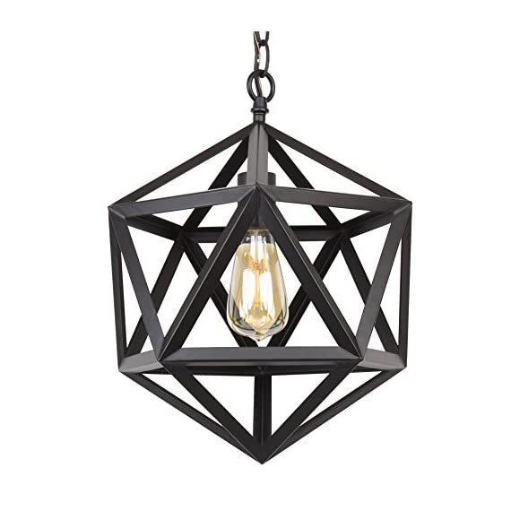 "Kira Home Trenton 12.5"" Modern Industrial Wrought Iron Metal Geometric Pendant Chandelier, Adjustable Chain, Black Finish - INDUSTRIAL STYLE: Metal chandelier features a geometric shade surrounding the bulb. This wrought iron fixture has a black finish and 6 feet of adjustable chain to suit your desired hanging lengths BRIGHTEN YOUR HOME: Hang this easy-to-install, prismatic ceiling light in pairs above a kitchen island, over a dining room or kitchen table, or in areas with high/vaulted ceilings such as an entryway or foyer. Dimmer and sloped ceiling compatible UL LISTED FOR YOUR SAFETY: UL listed for dry locations. Uses (1) LED, CFL or up to 60W traditional incandescent medium base bulb. Bulbs sold separately - kitchen-dining-room-decor, kitchen-dining-room, chandeliers-lighting - 51bQOiuW39L. SS570  -"