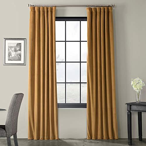 VPCH-140805-96 Signature Blackout Velvet Curtain,Amber Gold,50 X 96 (Gold Drapes)