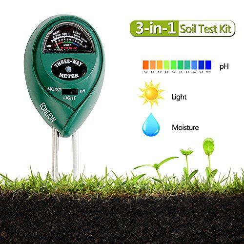 EONLION Goldpar Soil pH Meter, 3 in 1 Soil Test Kit for Moisture, Light & pH or Acidity, Gardening Tools for Home, Lawn, Garden, Plants, Farm, Indoor Outdoor Plant Care Soil Tester (No Battery Needed) by EONLION