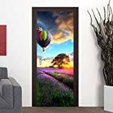 CaseFan 3D 30.3x78.7'' Hot-air Balloon Door Wall Mural Vinyl Stickers Wallpaper for Home Removable Decoration,Multicolor