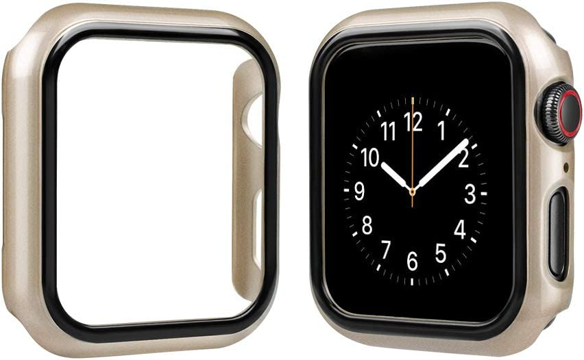 top4cus Environmental PC Slim Lightweight Electroplated Protective Iwatch Case Protector Bumper Compatible Apple Watch Series 5 Series 4 Series 3 Series 1 Series 2 (Gold, 38mm)