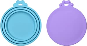 LUXACO 2 Pcs Silicone Pet Can Covers & 4 Colors, Canned Food Lid for Dog and Cat, One Meet Three Sizes,Fits Most Standard Size Dog and Cat Can Tops BPA Free - Sky-Blue,Pink, Purple,Orange