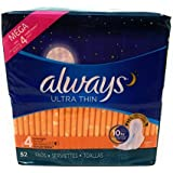 Always Ultra Thin Overnight Pads, With Wings, 52 Count