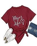 Pxmoda Women's Mom Love Life Print V Neck T Shirt Tops