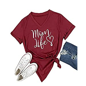 Pxmoda Women's Mom Love Life Print V Neck T Shirt Tops