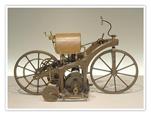 The First Motorcycle Daimler Petroleum Reitwagen Poster Handmade Giclée Gallery Print 1885 Gottlieb Daimler Wilhelm Maybach Einspur Single Track - Store Maybach
