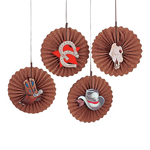(Fun Express - Western Icon Fan Bursts - Party Decor - Hanging Decor - Misc Hanging Decor - 12 Pieces)