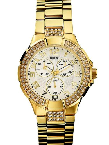 GUESS Women's G13537L Status Crystal Accent Multi-Function Gold-Tone Sport (Guess Crystal Accent Multifunction Watch)