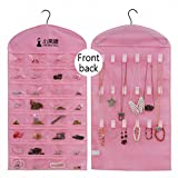 IDecHome Hanging Jewlery Organizer, Dual Sided Pockets Hooks Non-Woven Storage Bag, Pink