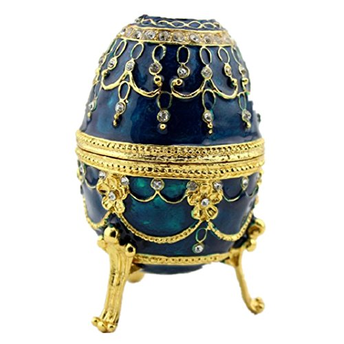 Egg Shaped Trinket Box Hinged Jewelry Ring Holder Collectible Figurine Boxes (Blue)