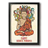 CARRYFUTURE Painting Photo Black Picture Frame Ornament with Buddha.Medallion, Yoga, India, Arabic,Prints Home Decoration Glass Front Cover Wall Paintings