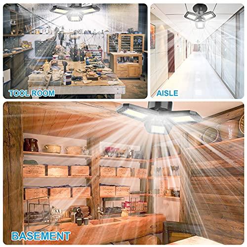 LED Shop Lights 80W LED Garage Lights 3 Leaf garage lights ceiling led Lights for Garage Deformable LED Garage Light with E26 E27 Base Garage Light Bulb for Workshop Basement LED Light Bulb Shop Light