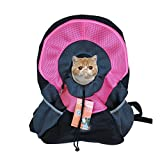 Ondoing Pet Carrier Backpack Adjustable Dog Puppy Cat Front Carrier Travel Bag Head Out Design for Traveling Hiking Camping Outdoor Use, Medium, Pink