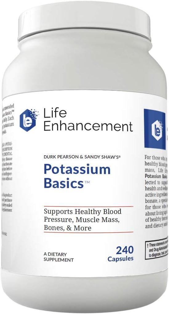 Life Enhancement Potassium Basics | Supports Healthy Blood Pressure, Bones, Muscle Mass, and More | 1020 mg Potassium Bicarbonate | 120 Servings