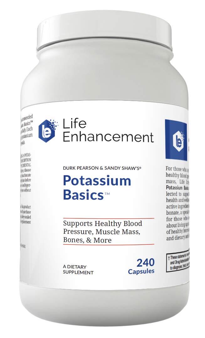 Life Enhancement Potassium Basics   Supports Healthy Blood Pressure, Bones, Muscle Mass, and More   1020 mg Potassium Bicarbonate   240 Servings