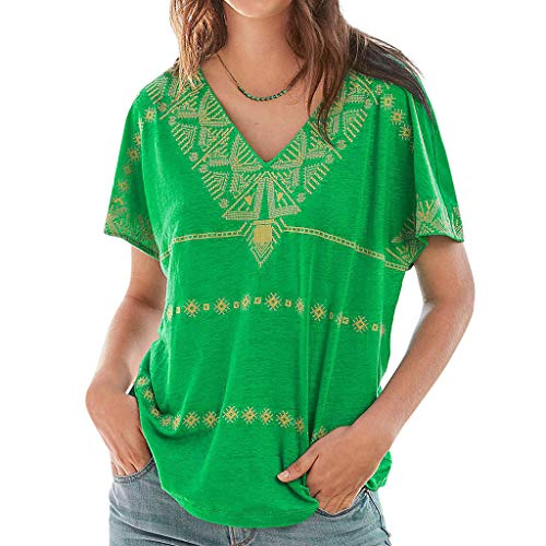 Londony ◈ Womens Casual Shirt V Neck Short Sleeve Boho Print Tops Loose Blouse Summer Shirt Ethnic Style Blouses Green