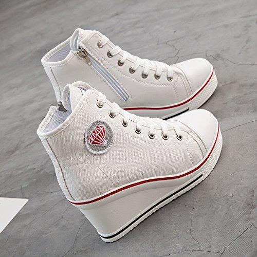 Padgene Damen Sneaker hochhackige Fashion Canvas Schuhe High Pump Lace UP Wedges Seitlicher Reißverschluss Schuhe Weiß 3