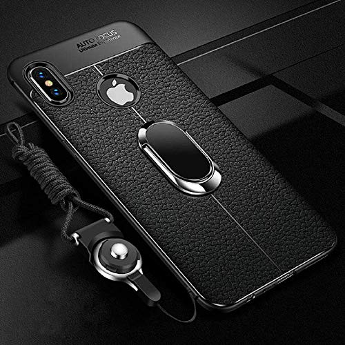 1 PC Soft Silicone Leather Back Cover for iPhone X XR XS Max with Magnetic Car Holder Case for iPhone 7 8 Plus 6 6S Plus (Black, iPhone Xs MAX)