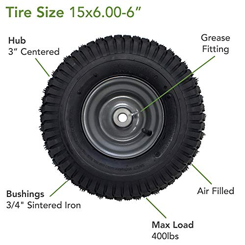 """MARASTAR 15x6.00-6/"""" Front Tire Assembly Replacement for Craftsman Riding Mowers"""