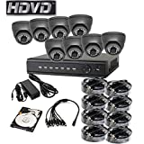 HDVD™ HVD-P-T88E8 HD-TVI CCTV 8CH DVR with 2.0MP 1080P 8 Camera Package Full HD 1080P HDMI Output Night Vision IR Indoor/Outdoor Eyeball Camera 1TB HDD Installed