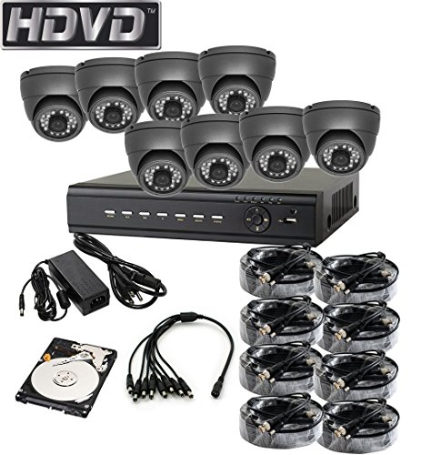 HDVD™ HVD-P-T87E 8 Channel HD-TVI CCTV DVR All in One Package Full HD 1080P HDMI Output Night Vision IR Indoor/Outdoor Eyeball Camera 1TB HDD Installed
