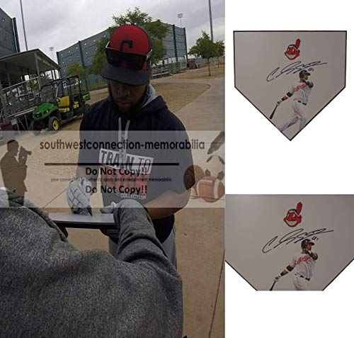 Cleveland Indians Carlos Santana Autographed Hand Signed Photo Baseball Home Plate Base with Exact Proof Photo of Signing and COA