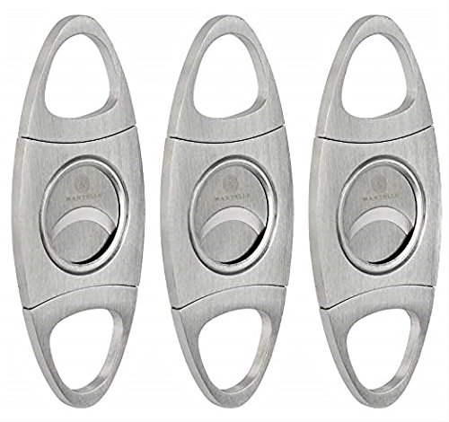 Mantello Cigars Guillotine Stainless Steel Cigar Cutter Double Blade (3 Pack) by Mantello Cigars
