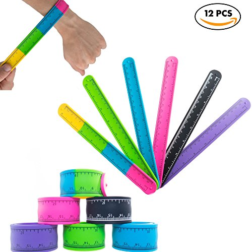 Slap Bracelets Toys for Kids, Girls, Boys 12 PCs - Silicone Wrist Ruler Snap Bracelet - Tape Measure Style for Education and Sensory - Great Birthday Party Favors - Supplies - School Prizes and Gifts by FROG SAC (Image #1)