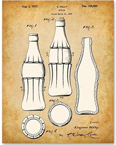 Distributors Blueprint - Coca Cola Bottle - 11x14 Unframed Patent Print - Makes a Great Gift Under $15 for Coke Lovers