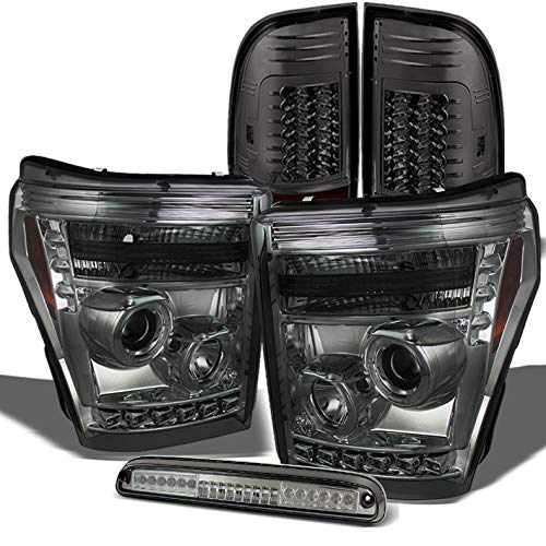 For 2011-2016 Ford F250/F350/F450 Smoked Halo Projector Headlights + LED Tail Lights + LED 3rd Brake Light Set 2014 ()