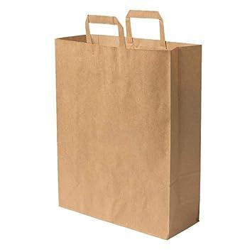 10734f53be 100 Sac papier poignée renforcée marron 16 LITRES 40 cm haut x 32 large x 12  ...