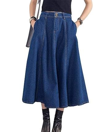 c715ca630b3cec PengGengA Femmes Jupe Plissée Haute Taille Longue A-Line Plissé Robe Évasée  Denim Jupe en Jean Jupe Crayon