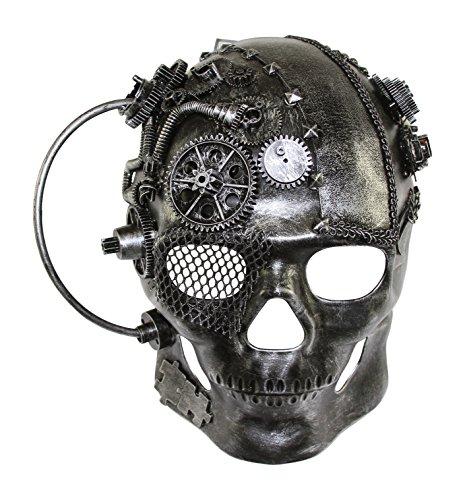 KAYSO INC The Terminator SteampunkFull Face Skull Masquerade Mask (Silver) (Victorian Face Masks)