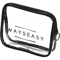 Travel Toiletry Bag WAYSEASY Transparent TSA Approved Leakproof Travel PVC Bag Pouch for Carry-on Travel Toiletry…