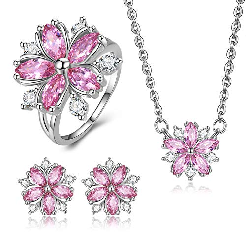 JunXin Cherry Blossom Jewelry Set Sakura Flower Pendant Necklace Stud Earrings and Ring Gift for Women Girls with Gift Box Size 8