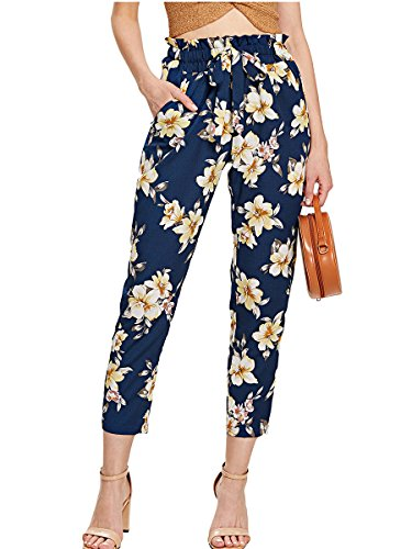 Romwe Women's Casual Floral Print Pants Self Tie Waist Slim Ankle Pants Blue M