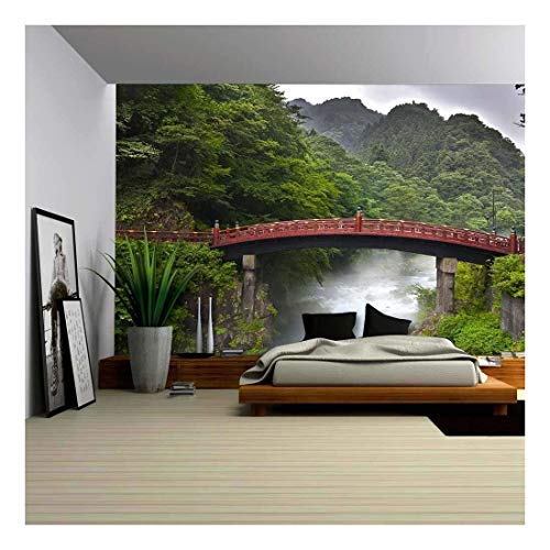 wall26 - Red Sacred Bridge Shinkyo in Nikko, Japan and a Mist Rising from The River - Removable Wall Mural | Self-Adhesive Large Wallpaper - 66x96 inches