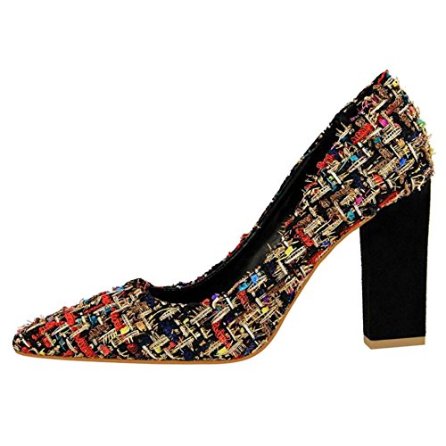 Pumps Black FANIMILA On B Fashion Women Stitching Slip YxSfYrn