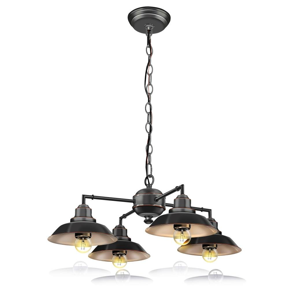 SereneLife Home Lighting Fixture - Metal Accent Classic Vintage Style Chandelier Pendant Hanging Ceiling Light with 4 Single Bulb Rustic Traditional Lamp Shade, US Standard Screw-in Sockets (SLLMP414) by SereneLife