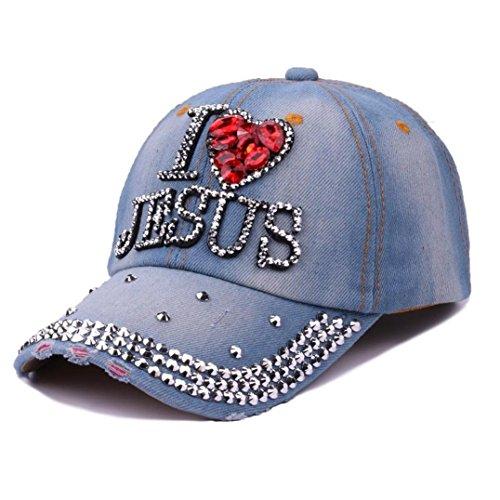 (Trendy Bling Crystals I ❤️ Jesus Letters Studded Rhinestone Denim Baseball Cap Hat Hip Hop Sun Hat (B))