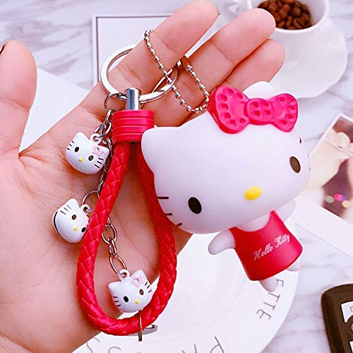 (Animal Keychain Leather 17 Color Cute Pvc Cat Hello Kitty Doll Keychain Leather Rope Key Holder Metal Bell Key Chain Keyring Charm Bag Auto Pendant Gift)