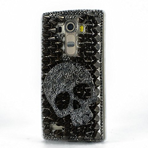LG K10 Case, Sense-TE Luxurious Crystal 3D Handmade Sparkle Diamond Rhinestone Clear Cover with Retro Bowknot Anti Dust Plug – Punk Big Skull / Black