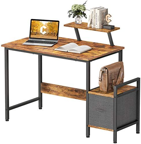 CubiCubi Small Computer Desk 32 Inch Home Office Multipurpose Writing Desk with Extra Storage Rack and Moveable Shelf,Rustic Brown